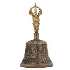 Purpledip Spiritual Buddhist Tibetan Brass Bell with Dorje Handle (10680)