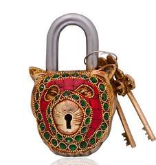 Purpledip Lion Shaped Brass Lock Padlock: Handmade Antique Design With Colorful Gemstone Work (10699)