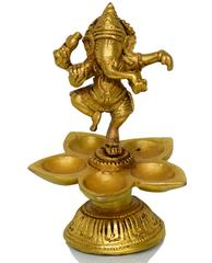 Purpledip Dancing Ganesha with 5 diyas crafted in pure brass (10713)