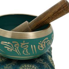 5 Inches Bell Metal Tibetan Buddhist Singing Bowl Green (10780)