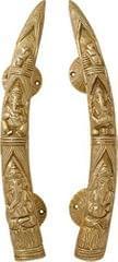 Door Handles in Pure Brass for Main Door, Tiger Tusks with Ganesh Ganpati design Fully Functional Decorative Tuskers Brass Door Handles                         (10810)