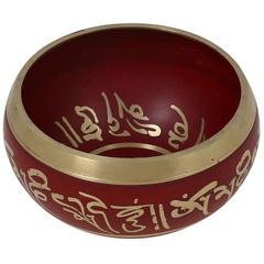 Purpledip 4.5 Inches Bell Metal Tibetan Buddhist Singing Bowl Red (10639a)