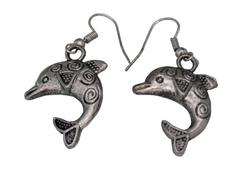 Funky Dolphin Earrings in Silver Color Oxidised Metal (30097)