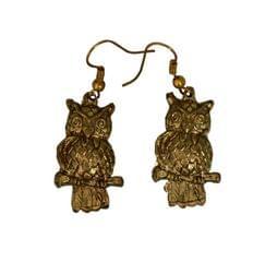 Funky Owl Earrings in Golden Color Oxidised Metal (30098)