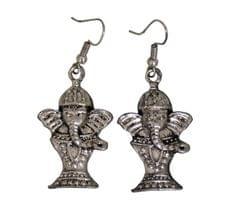 Funky Ganesha Earrings in Silver Color Oxidised Metal (30100)