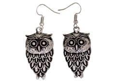 Funky Owl Earrings in Silver Color Oxidised Metal (30099)