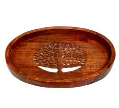 Purpledip Wooden Oval Serving Tray - Tree Of Life: Unique Cut Work Design & Big Size For Dining Table, Kitchen  (10785)