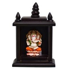 Purpledip Lord Ganapati (Hindu Religious God) Idol Encased in Small Temple for Table Top, Home Temple, Car Dashboard Statue (10796)