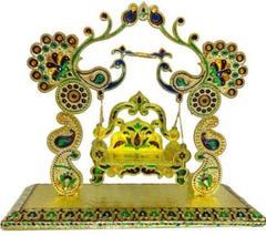 Beautiful Janamashtmi Special Meenakari Laddoo Gopal Krishna Jhula Swing Singhasana (10908)