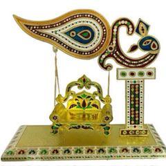 Beautiful Janamashtmi Special Meenakari Laddoo Gopal Krishna Jhula Swing Singhasana (10906)