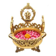 Purpledip Pure Brass Ganesha Urli, Flower Vase, Thali for Floor, Unique Indian decor 10943