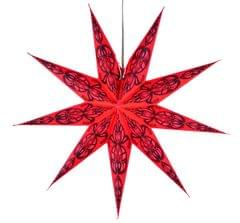 Purpledip 9 Pointed Star Made of Handmade Paper and Cut-work Transparent Sheets used as Hanging Lantern for Christmas, New Year, Birthday Party Decoration,60 cms (chst04)
