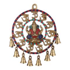 Purpledip Ganesha Om Wall Hanging: Pure Brass With Spectacular Gemstones And Bells (10945)