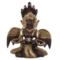Purpledip Serpent Snake Goddess Nag Kanya Mansa Devi Handmade Sculpture Brass Statue; Good Luck Charm (10948)