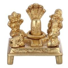 Purpledip Rare Collection Statue of Shiva Parivaar: Ganesha, Parvati, Karthikeya, And Nandi Around Shivaling (10950)
