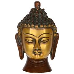 Purpledip Buddha Head In Pure Brass Metal: For Meditation Or D�cor Gift (10952)