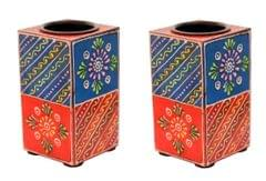 Purpledip Wooden T Light Candle Holders Handpainted (Set of 2) Indian souvenir, gift (10996)