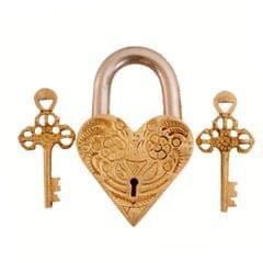 Purpledip Brass Padlock: Golden Heart  (11001)
