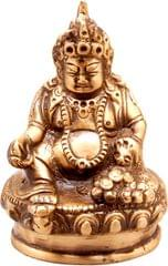 Purpledip Brass Statue Kubera (Hindu God Of Wealth & Prosperity): Kuber Vaisravana Sarvanubhuti Idol In Pure Metal; Regious Indian Home Temple Decor (11031)