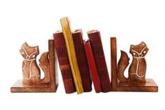 Wooden Bookends Stand Holder Bookshelf Organizer 'Foxy Cats': Unique Decor Gift For Book Lovers (11066)
