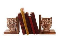 Wooden Bookends Stand Holder Bookshelf Organizer 'Wisdom Of The Jungle': Unique Decor Gift For Book Lovers (11067)