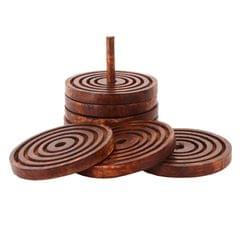 Purpledip Wooden Coasters 'Tower Of Hanoi': Unique Dining Accessory, Housewarming Gift (11072)