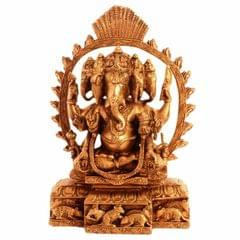 Purpledip Brass Idol Ganesha In Panchmukhi Avatar In Solid Brass Metal: Glorious Large Statue (11097)