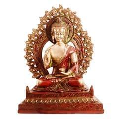 Purpledip Brass Statue Lord Buddha In Unique Copper Finish: Large Idol In Vitarka Mudra Or Preaching Posture (11096)