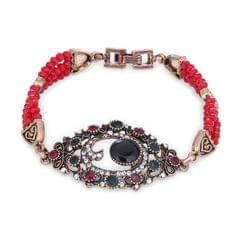 Purpledip Vintage Bracelet 'Evil Eye': Adjustable Design Set In Stones & Metal; Party-wear Jewelry For Girls (30117)