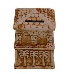 Purpledip Ceramic Money Bank Coin Box 'Country Cottage': Handmade Gift For Children Kids By Folk Artisans (10753)