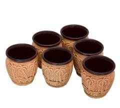 Purpledip Ceramic Kulhad Cup Set: Small Sized Goa Beach Reusable Mugs (Set of 6. 100 ml each); Indian Memorabilia Goa Collectible Souvenir (10754)