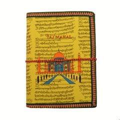 Purpledip Handmade Paper Journal 'Taj Mahal, Eternal Symbol Of Love': Vintage Diary Notebook With Thread Closure (11158)