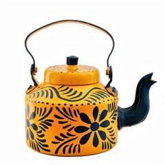 Purpledip Aluminium Handpainted Kettle Teapot: Holds 6 cups, 1 litre, Indian Souvenir Gift (11218b)