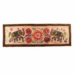 """Finely Embriodered Indian vintage Small Tapestry Table Runner Wall Hanging Cotton Wall Decor """"Trumpeting Elephants"""" (11272)"""