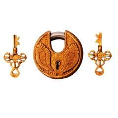Brass Lock Padlock With Shankh/Conch: Round Antique Design; Unique Collectible (11276)