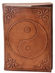 Leather Journal (Diary Notebook) 'Yin-Yang': Handmade Paper In Leather Cover For Corporate Gift or Personal Memoir (11320)