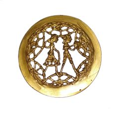 Brass Wall Hanging Plaque 'Working Couple': Dokra Craft Tribal Artform Circle Plate Statue (11437)