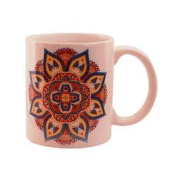 Purpledip Ceramic Mug With Indian Rangoli Pattern, Ethnic Gift for Birthday, Anniversary (11443)