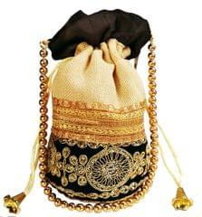 Purpledip Rich Velvet & Jute Potli Bag (Clutch, Drawstring Purse, Evening Handbag) For Women With Gold Embroidery Work and Golden Beads String , Black (11474)