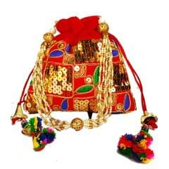 Purpledip Rich Velvet Potli Bag (Clutch, Drawstring Purse, Evening Handbag) For Women With  Rich Sequin Embroidery Work and Colorful Tassels , Red (11484)