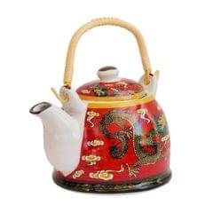 Purpledip Ceramic Fire Kettle 'Red Dragon': 1L Tea Pot with Steel Strainer (11467)