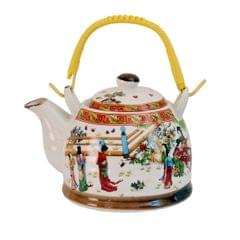 Purpledip Ceramic Fire Kettle 'Orient Garden': 1L Tea Pot with Steel Strainer (11468)