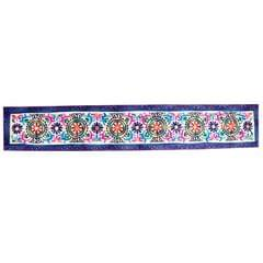 Purpledip Cotton Tapestry 'Floral Delight': Vintage Embroidery Table Runner or Wall Hanging (11487)