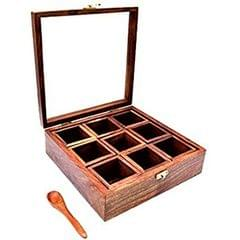 Purpledip Wooden Spice Box: 9 Compartment Case with Transparent Cover (11500)