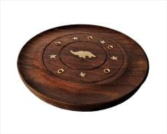 Purpledip Wooden Incense Stick Holder Agarbatti Stand : Ash Catcher, Hand Made With Small Brass Adornments (11501)