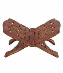 Purpledip Wooden Hand Carved Stand for Holy Books of Any Faith: Portable Folding Mount with Intricate Carvings (11503)