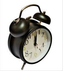 Purpledip Vintage Alarm Clock with Ringing Bells & Back Light, Black (11516A)