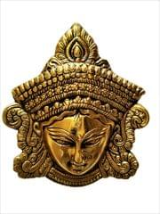 Purpledip Metal Statue Goddess Durga: Wall Hanging Face Mask in Golden Finish (11539)