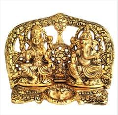Purpledip Metal Statues Ganesha-Lakshmi with Deepak: Exquisite Idols in Golden Finish for Home Temple (11545)