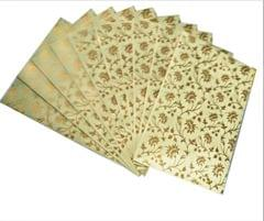 Purpledip Paper Card-Envelope Pack (Set of 10) 'Silver Flowers': Handmade Organic Paper Cards 6*4 inches for Personalized Greetings (11454)